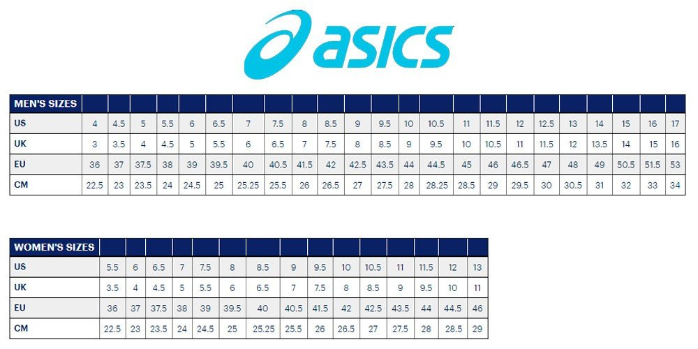 asics shoes size